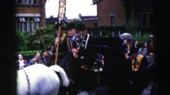 1952: beautiful morning and great parade celebrating a special day ENGLAND Stock Footage