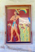 Prince of lilies plaster relief in Knossos palace ruins Stock Photos