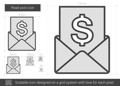Read post line icon Stock Illustration