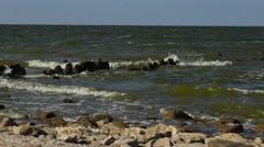 Waves on coastline of Azov sea Stock Footage