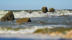 Sea surf view from frog perspectives Stock Footage