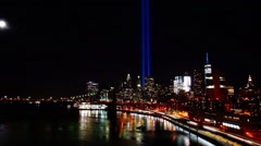 Time-lapse video of the World Trade Center Tribute Lights and the setting Moon Stock Footage