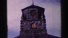 1952: viewing the pillar of an old, gothic-styled home ENGLAND Stock Footage
