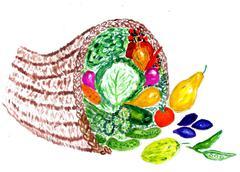 Full Cornucopia Watercolor Stock Illustration