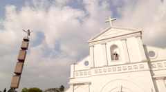 TIMELAPSE Clouds over white church,Chennai,India Stock Footage