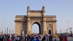 TIMELAPSE Gateway Of India with indian tourists,Mumbai,India Stock Footage