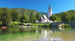 Church of St. John the Baptist at Bohinj Lake Stock Footage
