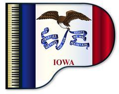 Grand Piano Iowa Flag Stock Illustration