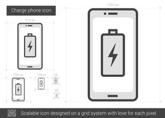 Charge phone line icon Stock Illustration