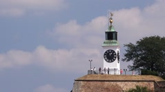 Famous old tower clock at Petrovaradin fortress in Novi Sad Stock Footage