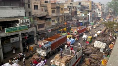 TIMELAPSE Busy spice market  loading and unloading,New Delhi,India Stock Footage