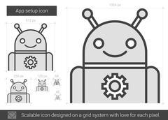 App setup line icon Stock Illustration