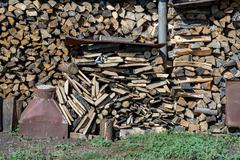 Preparation Pile Of Wood For The Winter. Dry Firewood. Stock Photos