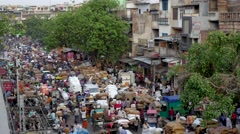 TIMELAPSE Crowded spice market and traffic,New Delhi,India Stock Footage