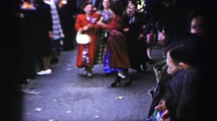1952: merriment in the crowded streets ENGLAND Stock Footage