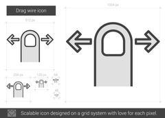 Drag wire line icon Stock Illustration