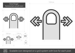 One-finger horizontal scroll line icon Stock Illustration