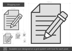 Blogging line icon Stock Illustration