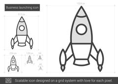 Business launching line icon Stock Illustration