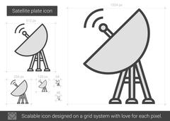Satellite plate line icon Stock Illustration