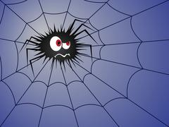 Halloween Angry spider on the blue cobweb Stock Illustration