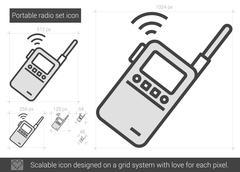 Portable radio set line icon Stock Illustration