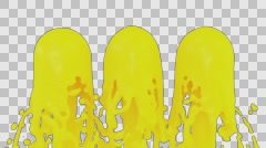 Animated fountains of yellow paint against transparent background Stock Footage