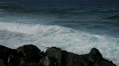 Rough sea breaking on the rocks Stock Footage
