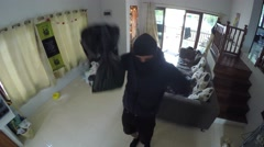 Cheerful Burglar Dancing While Robbing A House. Crime Stock Footage