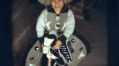 1955: little boy rides small horse PENNINGTON, NEW JERSEY Stock Footage