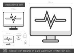 Data analysis line icon Stock Illustration