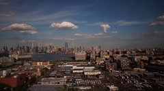 Panoramic Time-lapse video of Clouds passing over Midtown Manhattan with Traffic Stock Footage