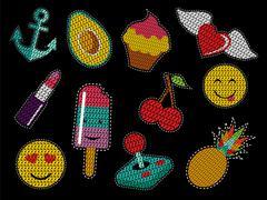 Set of cute sequin pop art retro patch icons Stock Illustration