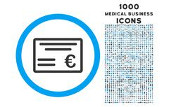 Euro Cheque Rounded Icon with 1000 Bonus Icons Stock Illustration