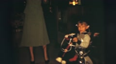 1955: women and child wave cowboy hats at each other happily PENNINGTON, NEW Stock Footage