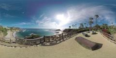360 Video, 4K, Cliff View, Treasure Island Beach, Laguna Beach Stock Footage