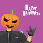 Rock n roll Happy halloween vector greeting card Stock Illustration