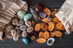 Magic runes with their hands Stock Photos
