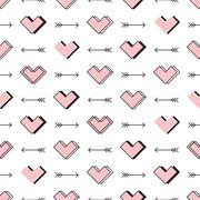 Hearts and arrows seamless pattern. Robot in love Stock Illustration