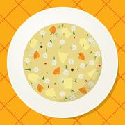 Plate with noodle and vegetable soup on the table Stock Illustration