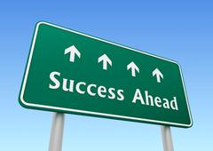 Success ahead road sign concept  3d illustration Stock Illustration