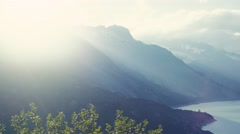 Amazing high peaks of Switzerland mountain chain on a bright sunlight and wide Stock Footage