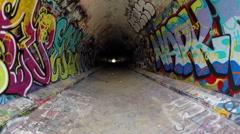 Graffiti Tunnel Under 10 Lane Freeway Stock Footage