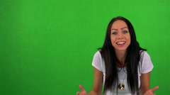 Young pretty woman is angry - green screen - studio  Stock Footage
