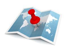 Pushpin on map concept  3d illustration Stock Illustration