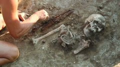 Archaeological excavations in the Zaporozhye region, Ukraine Stock Footage