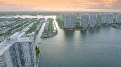 Beautiful aerial shot of water and buildings in Miami. Stock Footage