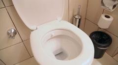 White home toilet closeup 4 Stock Footage