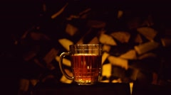 Golden beer poured into a glass, the festival Oktoberfest Stock Footage