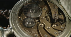 Macro tracking shot of antique pocket watch Stock Footage